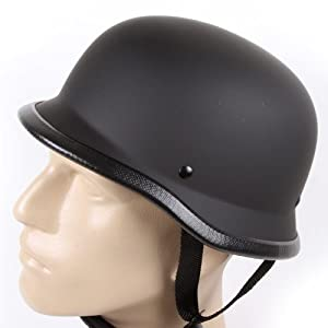 Low Profile Novelty German Half Chopper Helmet Skull Cap Matte Black (L) by Ivolution Sports, Inc