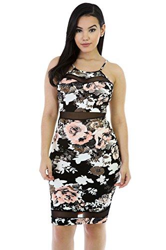 Floral Romace Midi Dress L MULTI PRINT
