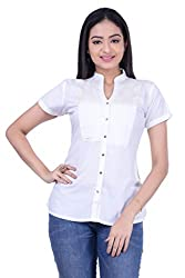 Rene Women's White Half Sleeves With Stand Collar Rayon Top