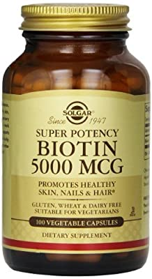 Solgar Biotin Vegetable Capsules, 5000 mcg, 100 Count (Pack of 3)
