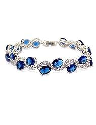 Silver Blue Sapphire And White Topaz 30.6ct Bracelet