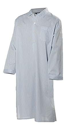 Lloyd Attree & Smith - chemise de nuit homme, doux et confortable - 100% coton - rayé bleu clair / gris / jaune (XL)