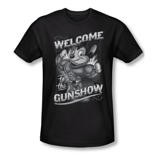 Mighty Mouse Cartoon Cbs Tv Series Mighty Gunshow Adult Slim T-Shirt Tee