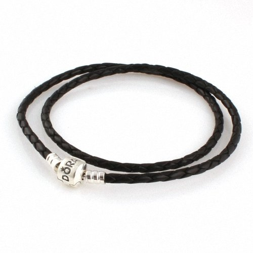 """Taotaohas-(1Pc) (45Cm = 17.7"""" ) 100% Solid Sterling 925 Silver Clip Cluth Clasp Braided Genuine Leather Bracelet Base Chain, (Mark: Ale 925, Color: Black ], Fit European Bracelets Necklaces Chains, Troll, Biagi Glass Charm Beads"""