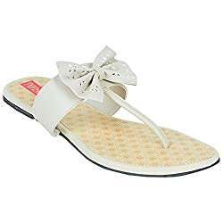 Footrendz Womens Ethnic Bow Touch Synthetic Leather Flats (36 EU)
