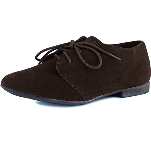 Women's Cute Lace Up Flat Oxford Sneaker Desert Ankle Light Brown Color, 7,7 B(M) US