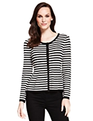 M&S Collection Striped Peplum Cardigan