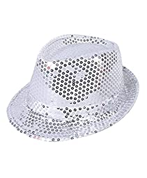 Buckletown Sequined Fedora Hat (Silver)