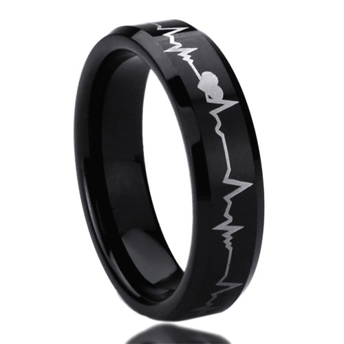 Unisex Men'S 6Mm Titanium Comfort Fit Wedding Band Ring Laser Engraved Forever Love Heartbeat Black Ring (5 To 11) - Size: 10