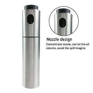 BOGZON Novel 100ml Stainless Steel Baking Olive Oil Bottle/Pot/Mister, Cooking Sprayer and Dispenser, Silver, 1 PC