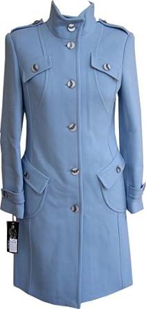 Women's Designer Wool Coat - Ladies Light Blue Wool Coat, XS, Light Blue