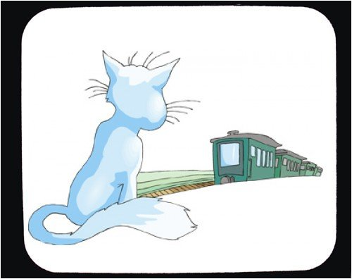 Decorated Mouse Pad with departing, cat, pet, watching, train