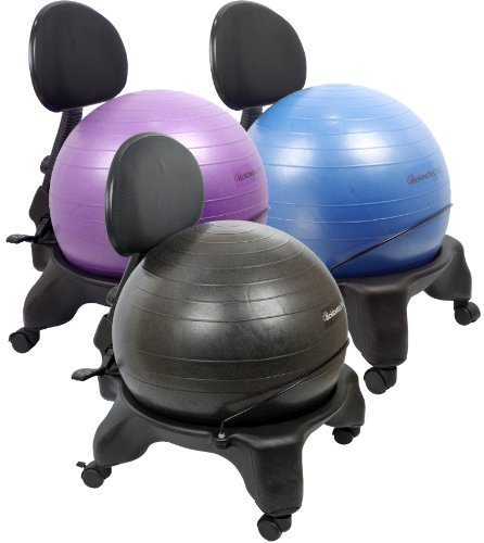 Exercise Ball Chair Black 52cm Ball W Starter Pump And Ball