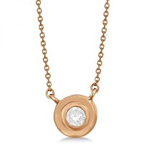 Allurez Women's Round Cut Diamond Solitaire Pendant In 14K (0.10 Carat) Rose Gold