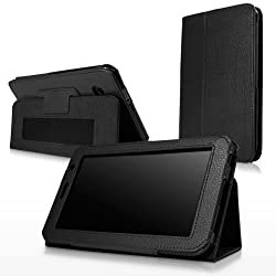 BoxWave Samsung Galaxy Tab 7.0 Plus Folio Stand Case with Strap - Protective Synthetic Leather Cover with Folding Viewing Stand and Convenient Hand Strap - Samsung Galaxy Tab 7.0 Plus Cases and Covers (Nero Black)