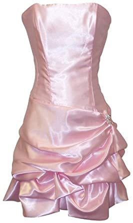 Strapless Satin Bubble Dress Prom Formal Holiday Party Cocktail Gown Bridesmaid, XS, pink