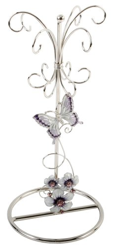 Purple Floral Glass Jewelry Stand With Stainless Steel Frame By Haysom Interiors front-115265