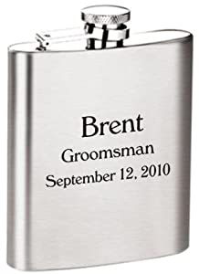 8 Oz. Personalized Laser Engraved Flask Groomsmen / Bridesmaid Gift!