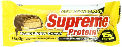 Supreme Protein 43 g Peanut Butter Crunch Whey Protein Snack Bars - Box of 9