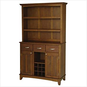 Large Cherry Buffet with Cherry Wood Top and Open Shelf Hutch