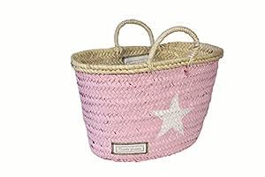 twenty violets ibiza korb strand bast tasche little klein rosa mit wei em stern. Black Bedroom Furniture Sets. Home Design Ideas