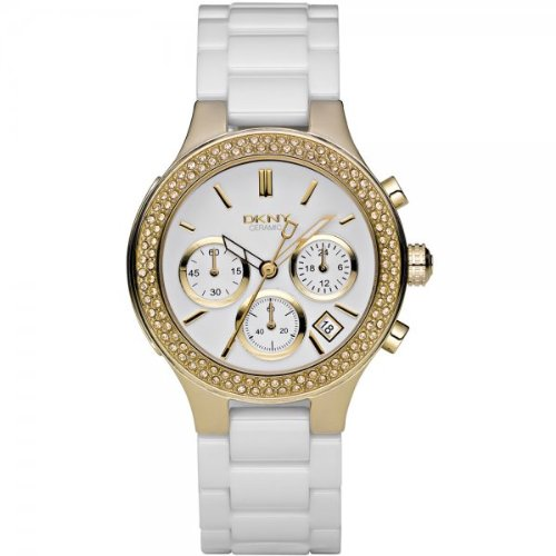 DKNY Ladies Watch NY4986 with White Dial and White Ceramic Strap