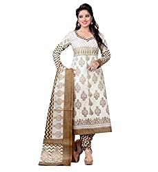 Miraan Womens Cotton Unstitched Dress Material (Sg710 _White)