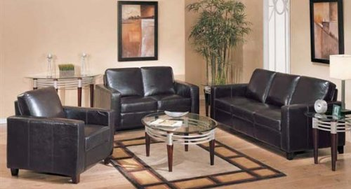 Picture of Acme 3pc Sofa Loveseat Chair Set Espresso Bycast Leather (VF_Livset-AM5740) (Sofas & Loveseats)