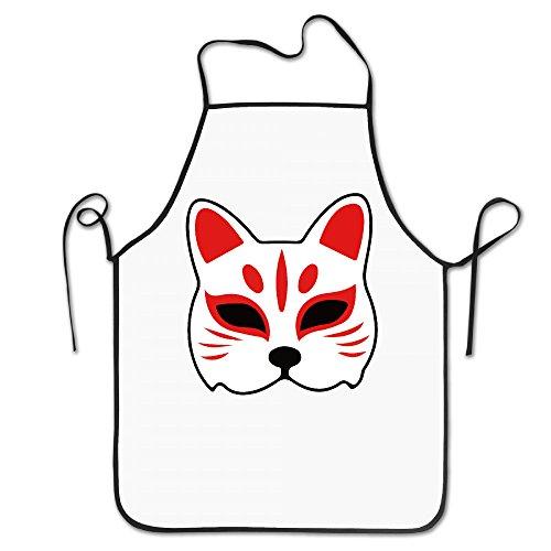 Fairyland エプロン 狐 マスク 神社 動物 キッチンエプロン Black