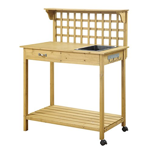 August Grove Newdale Collection Potting Bench Cart, Light oak (Resin Potting Bench compare prices)
