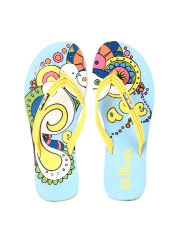 Sole Threads Women Light Blue / Yellow Peace Printed Beach Flip Flops / Slipper / Thong Sandals