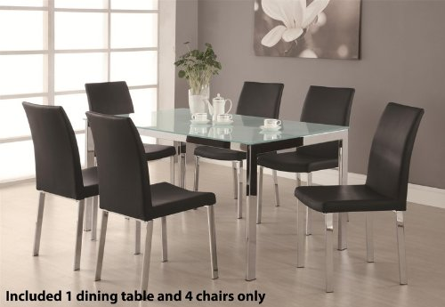 Cheap 5pc Dining Table Set with Frosted Glass Top in Chrome Finish (VF_DINSET-120761-120762)