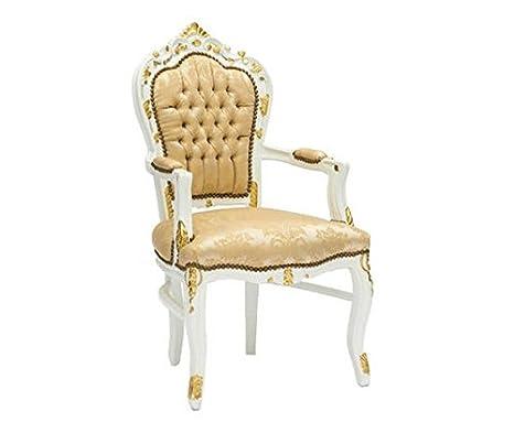 Fauteuil baroque blanc avec rembourrage Color or