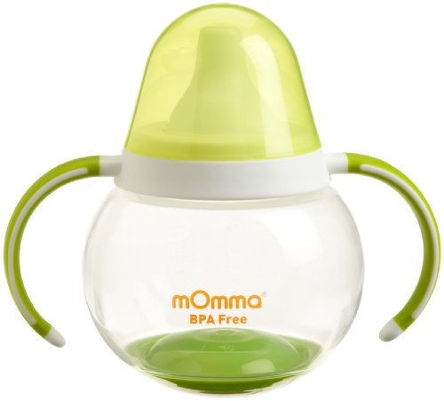 Lansinoh mOmma Spill Proof Cup with Dual Handles, Green, BPA Free and BPS Free