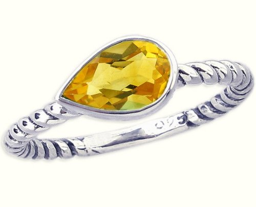 Twisted Sterling Silver Stackable Ring with East-West Medium Pear Genuine Gemstone-in Citrine-in full,half,quarter sizes from 3.5 to 12_11.25