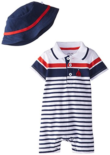 Little Me Baby-Boys Newborn Placed Stripe Romper and Hat, Navy Stripe, 6 Months