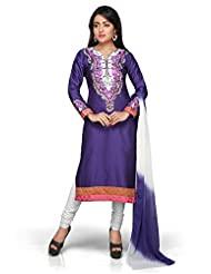 Utsav Fashion Women's Purple Cotton Silk Readymade Churidar Kameez-Large