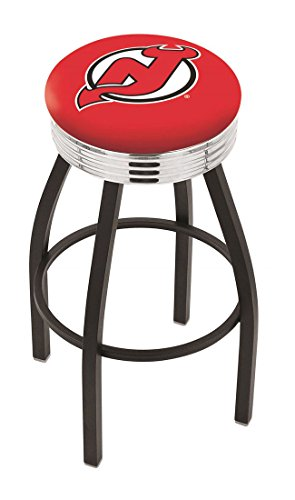 """25"""""""" L8B3C - NHL Black Wrinkle New Jersey Devils Logo Swivel Bar Stool with Chrome 2.5"""""""" Ribbed Accent Ring-By BlueTECH"""
