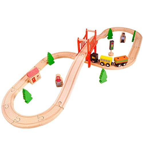 ACOOLTOY 37 Pièces Bois Set Train,Ensemble de Train Jeu pour les Enfants Tout-petits de 3 Ans