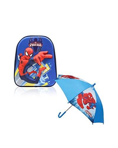 MARVEL Mochila + Paraguas Pack Spiderman Azul