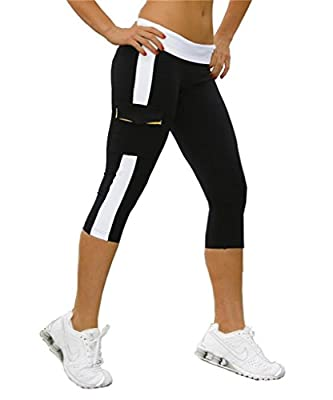 4How Women's Capri Tights leggings Yoga Pants Calf-Length with Side pockets