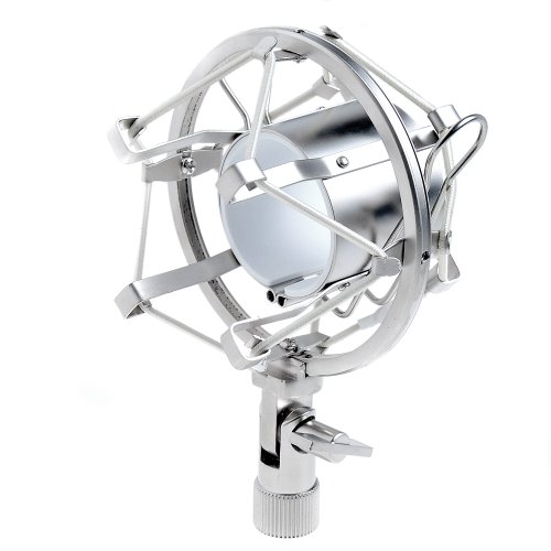 "1Set Silver Microphone Shock Mount Fits Most Mxl, Ev Mics & More (1 5/8 - 1 7/8"")"