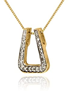 Collier - Femme - Or Jaune 375/1000 (9 Cts) 1.9 Gr - Diamant