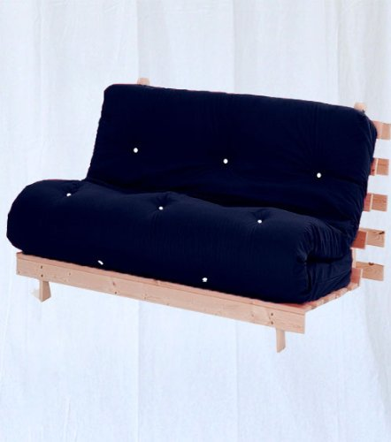 Complete 2 Seater Futon in Navy, Double Wooden Futon Base and Luxury Mattress. Versatile & Comfortable, Converts from 2 Seater Sofa to Double Bed in Minutes.