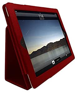InventCase Apple iPad 2 / 3 / 4 Tablet (2nd, 3rd and 4th Generations - 9.7-Inch) Smart Multi-Functional PU Leather 2-Fold Case Cover with Sleep Wake Function - Red