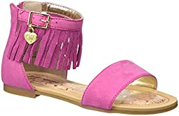 Stuart Weitzman Camia Anna Fringe Boho Low Sandal (Toddler/Little Kid/Big Kid), Fuchsia, 1 M US Little Kid
