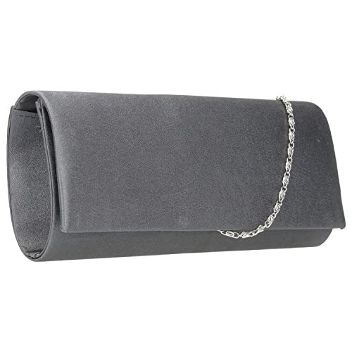 Miranda Flapover Satin Shiny Clutch Evening Bag