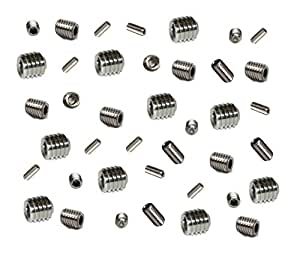 Grub Screws Metric Thread (Mixed 40 PACK) A2 Stainless Steel 10 X M3,M4,M5 & M6 x 5mm Socket Cup Point Allen Key Grub Screw Free UK Delivery