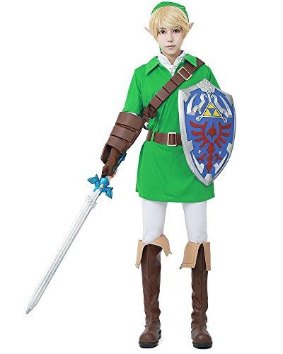 [Miccostumes Men's The Legend of Zelda Ocarina of Time Link Cosplay Costume (L, Light green and] (Princess Zelda Cosplay Costume)