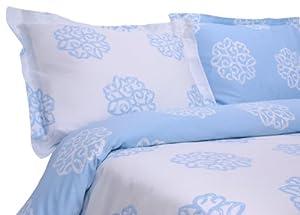 Elite Home Milena Medallion Collection 310 Thread-Count 100-Percent Cotton Sateen Reversible King 3 Piece Duvet/Sham Set, Lt Blue